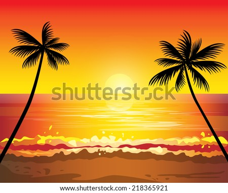 sunset ocean summer beach with