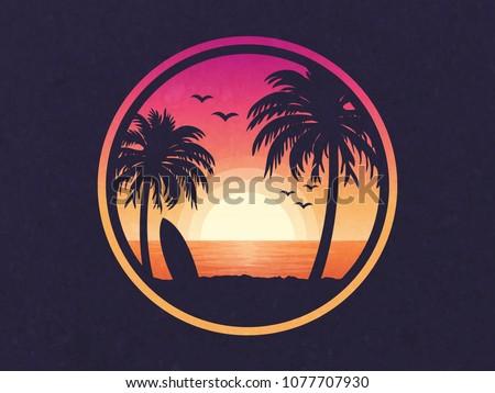 Sunset on a beach vector illustration