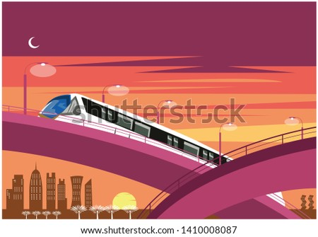 Sunset on a Qatar skyline with modern railway track system and road system. Editable Clip Art.