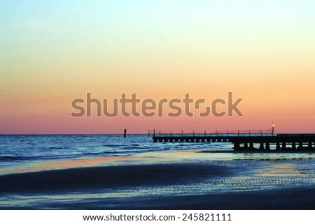 sunset on a seashore   vector