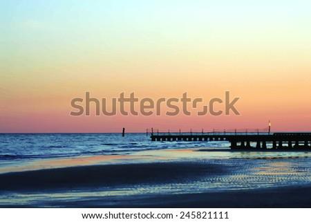 sunset on a seashore   vector