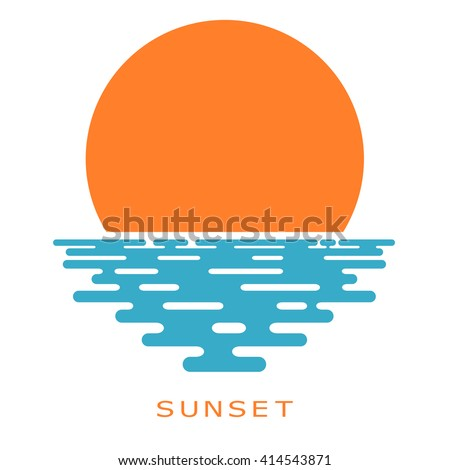 sunset on a white background
