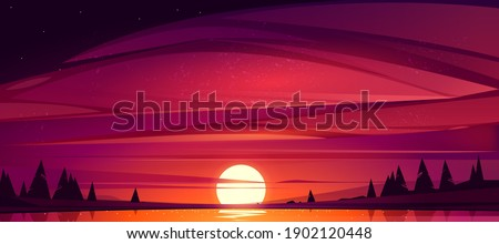 sunset on lake  red sky with