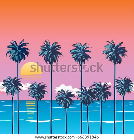 sunset on the beach with palm