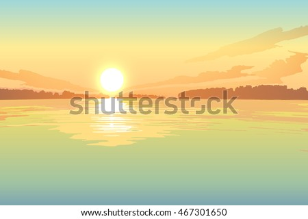 sunset on the lake  vector