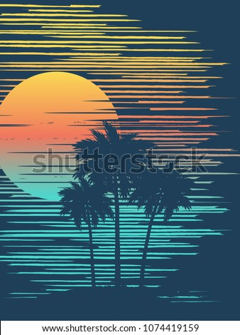 sunset on tropical beach with