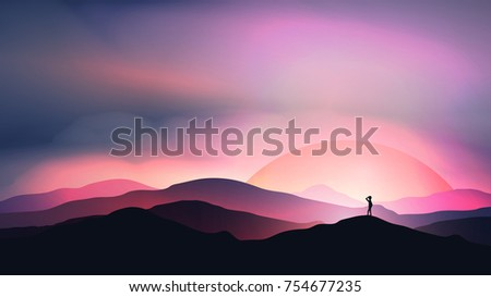 sunset or dawn over mountains