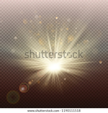 Sunset or sunrise golden glowing bright flash effect. Warm burst with rays and spotlight. Sun realistic lights template. EPS 10