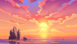 Sunset or sunrise in ocean, nature landscape background, pink clouds flying in sky to shining sun above sea with rocks sticking up of water surface. Evening or morning view Cartoon vector illustration