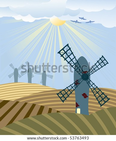 stock-vector-sunset-over-a-field-with-windmills-53763493.jpg