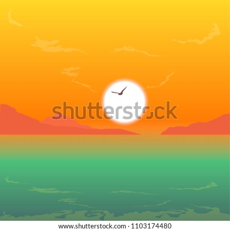 sunset over ocean and island