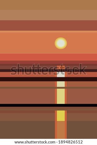 sunset over seaside landscape