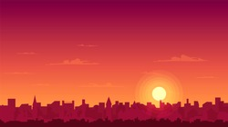 sunset over the city silhouette vector illustration, clouds and sunset glow, cityscape,rooftops