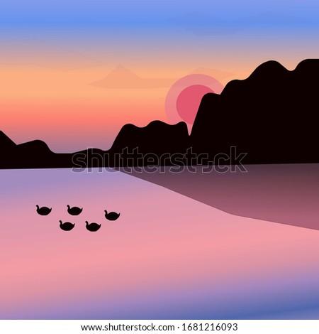 sunset over the sea  mountain