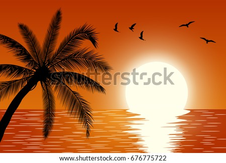sunset over the sea summer