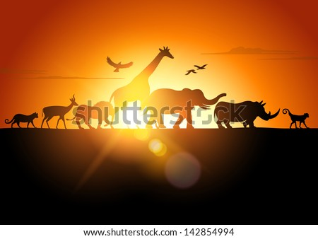 Sunset Safari Wildlife silhouetted against a sunset vector illustration