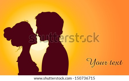 sunset silhouettes of kissing