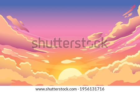 Sunset sky. Cartoon summer sunrise with pink clouds and sunshine, evening cloudy heaven panorama. Morning vector landscape. Beautiful cloudscape with fluffy cumulus, colorful twilight
