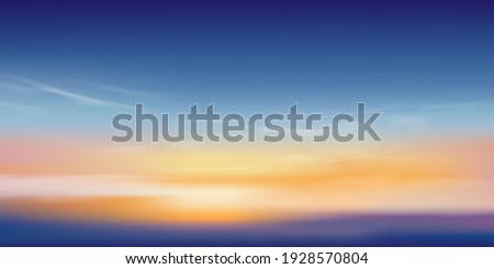 sunset sky in evening with