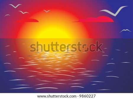 Sunset somewhere in the middle of the oceanic landscape. Vector.