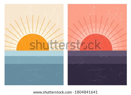 sunset sunrise in sea abstract