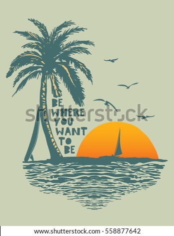 sunset surf and beach vintage