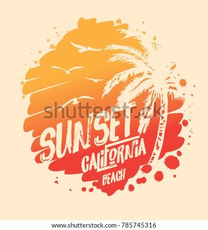sunset surf california t