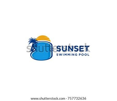 swimming pool logo design. Sunset Swimming Pool, Pool Logo Design