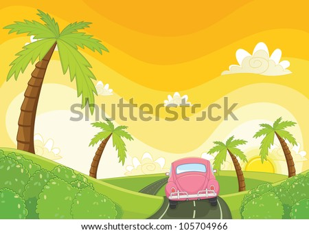 sunset vector illustration