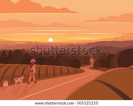 sunset walking traveler