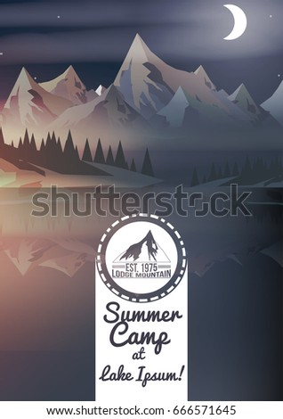 Sunset with Mountain Peaks,Summer Camp Flyer - Vector Illustration