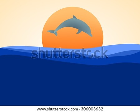 sunset with the jumping dolphin