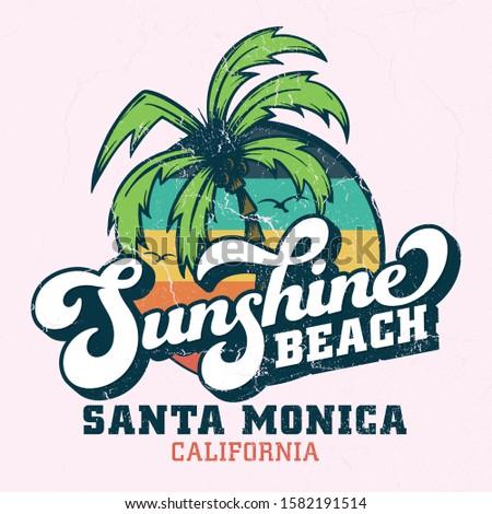 Sunshine Beach Santa Monica - Tee Design For Printing