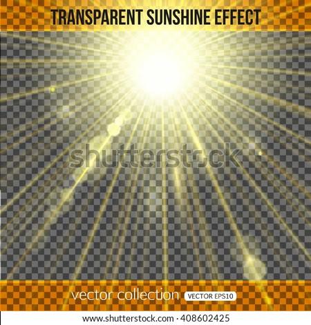Sunshine effect over transparent background. Vector illustration.