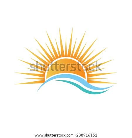 sunshine logo over water waves