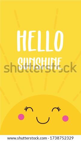 Sunshine Pattern, Yellow sunshine, Sunshine Background, Hello Sunshine Love Cards Vector Stock Vector Illustration.