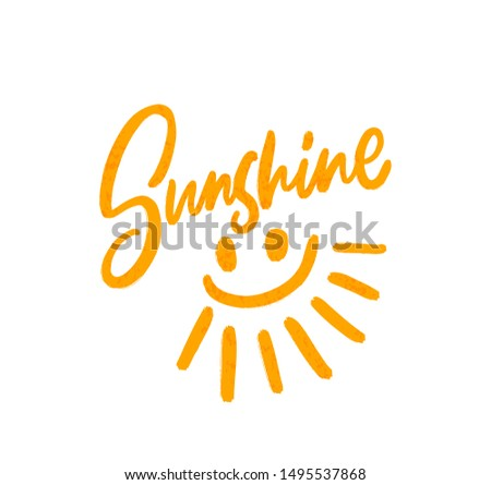 Sunshine. Summer smile. Bright colored letters. Modern hand drawn lettering. Colourful lettering for postcards and banners. Motivational calligraphy poster. Stylish font typography. Abstract type.