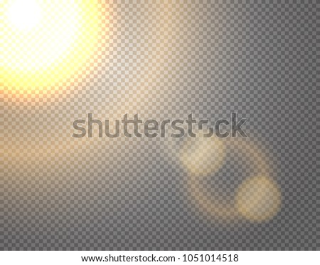 Sunshine vector effect isolated on transparent background.  Photo effect vector illustration. Lens vector effect