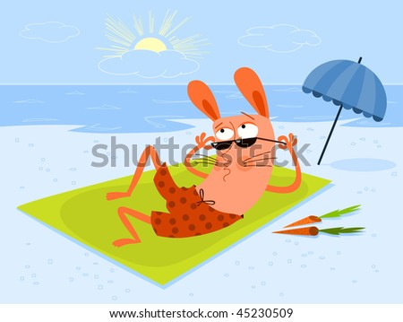 Suntanning on the beach - vector