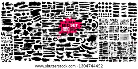 Super Big Collection of black paint, ink brush strokes, brushes, lines. Dirty artistic design elements. Vector illustration. Isolated on white background. #1304744452