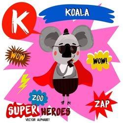 Super big set. Cute vector Zoo alphabet with animals in cartoon style. Letter K-Koala in superheroes costume.Comic Book Elements - stock vector