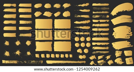 Super big set of hand drawn golden grunge torn box shapes. Vector isolated background. Edge rough frames. Distressed brush strokes, blots, borders and gold dividers.
