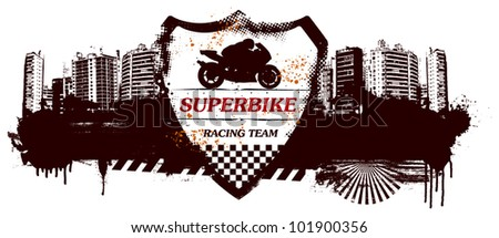 super bike grunge shield with city background