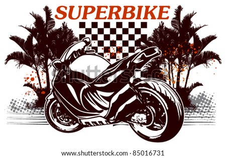 super bike with summer background - stock vector