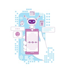 Super bot thin line concept vector illustration. Hand holding smartphone with personal assistant app 2D cartoon character for web design. Chatbot with voice recognition software creative idea