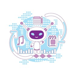 Super bot thin line concept vector illustration. Personal assistant, helper robot 2D cartoon character for web design. Chatbot, task planning and time management software creative idea