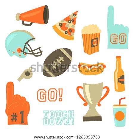 Super bowl party vector icon set. Sport games celebration icons. American football vintage retro style. Helmet, award, cup, trophy, pizza slice, football, popcorn, beer bottle, megaphone, foam hand