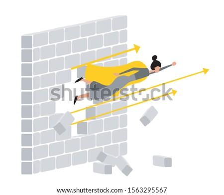 Super business woman breaks the wall. Woman breaks the wall. Flying woman breaks the wall. Concept flat design