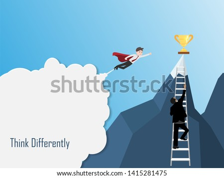 Super businessman and Businessman running up stairway to the top of mountain, Business concept growth and the path to success, Flat design vector illustration.
