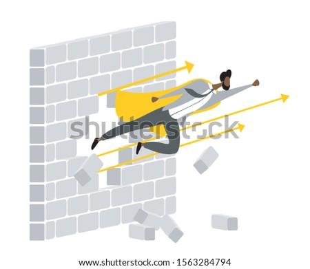Super businessman breaks the wall. Brown skin man breaks the wall. Flying man breaks the wall. Concept flat design